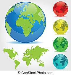 colorido, tierra, globos