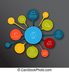 colorido, timeline, infographic, plantilla, informe, burbujas