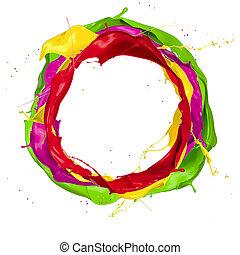 colorido, tintas, isolado, esguichos, fundo, círculo branco