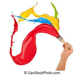 colorido, tintas, respingue, saída, de, brush., isolado,...