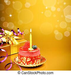 colorido, torta de cumpleaños, con, vela