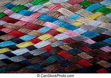 colorido, trança, fios