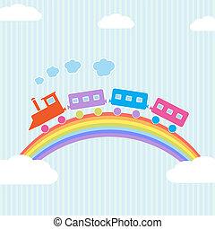 colorido, tren, en, arco irirs
