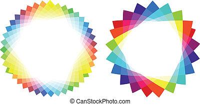 colorido, triángulo, marcos, vector