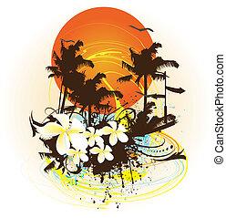 colorido, tropical, diseño