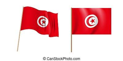 colorido, tunecino, ondulación, república, vector, ...