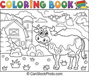 colorido, vaca, granja, tema, 2, libro