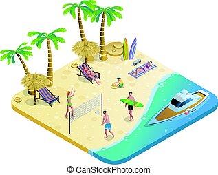 colorido, vacaciones del verano, concepto