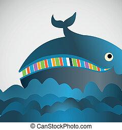 colorido, vector, alegre, ballena, en, el, mar
