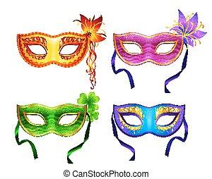 colorido, vector, conjunto, carnaval, máscaras