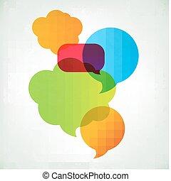 colorido, vector, discurso, burbujas