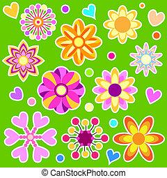 colorido, vector, flores