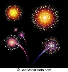 colorido, vector, fuegos artificiales
