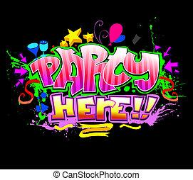 colorido, vector, here., plano de fondo, invitación, fiesta