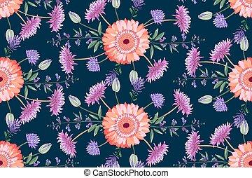 colorido, vector, zinnia., ásteres, golden-daisy, floral,...