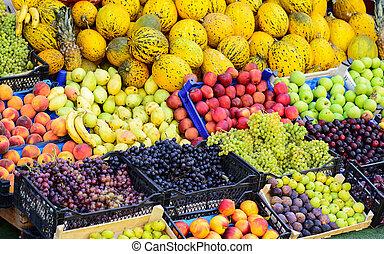 colorido, vegetales, vario, fruits, fresco, mercado