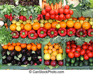 colorido, vegetales, y, fruits