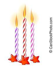 colorido, velas de cumpleaños, con, estrellas