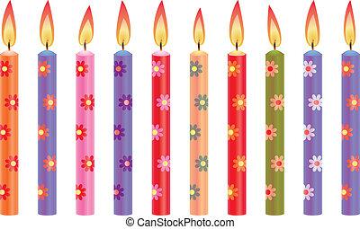 colorido, velas de cumpleaños, con, flores