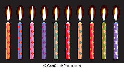 colorido, velas de cumpleaños