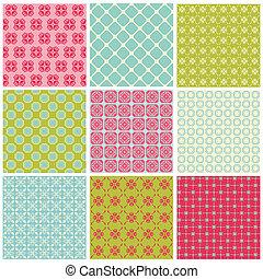 colorido, vendimia, -, seamless, colección, plano de fondo, azulejo