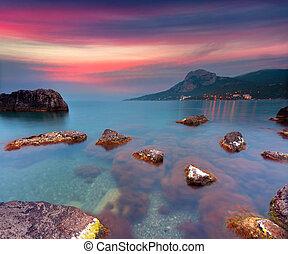 colorido, verano, salida del sol, en, el, mar