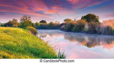 colorido, verano, salida del sol, en, el, río