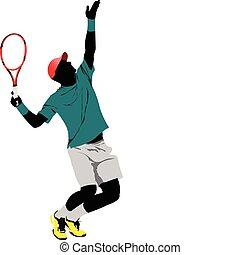 colorido, vetorial, illu, player., tênis
