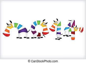 colorido, vetorial, zebra, ano, novo, horses.