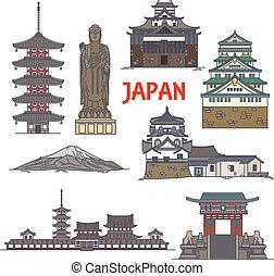 colorido, viaje, delgado, japón, línea, señales, icono