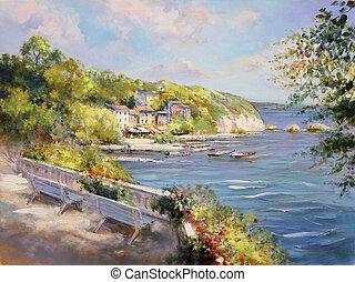 colorido, vista marina, pintura al óleo