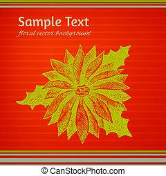 colorido, winterberry, ilustración, verde, navidad, rojo