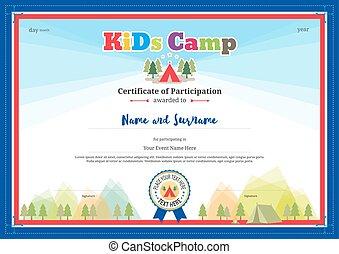 colorido, y, moderno, certificado, de, partipation, para, niños, actividades, o, niños, campo, con, campamento, plano de fondo