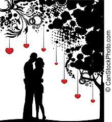coloridos, árvore, com, amantes