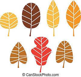 coloridos, árvore, folhas, isolado, jogo, outono, branca