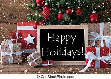 coloridos, árvore natal, com, snowflakes, texto, feliz, feriados