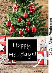 coloridos, árvore natal, com, texto, feliz, feriados