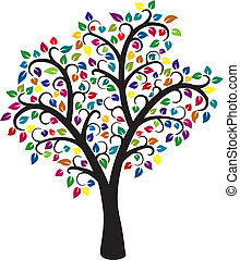 coloridos, árvore