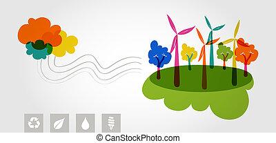 coloridos, árvores., verde, renovável, mundo, recursos