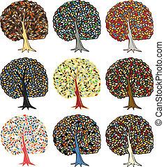coloridos, árvores