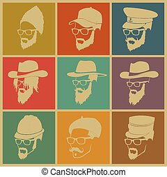 coloridos, ícones, chapéus, pessoas, ilustração, barba