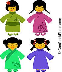 coloridos, ícones, japoneses, tradicional, -2, vestidos, bonecas