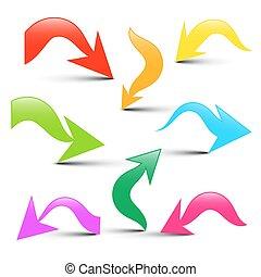coloridos, ícones, jogo, setas, isolado, fundo, vetorial, Seta, branca,  3D