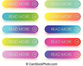 coloridos, ícones, ler, isolado, white., mais
