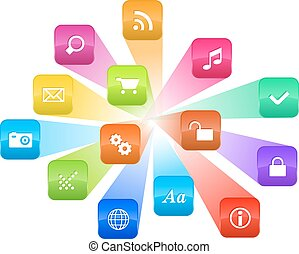coloridos, ícones, programa, concept:, nuvem, software