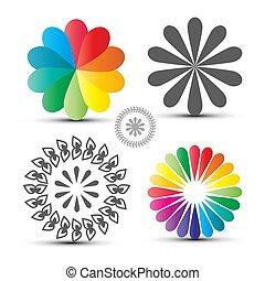 coloridos, ícones, set., isolado, flover, formas, ...