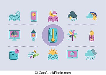 coloridos, ícones, tempo, termômetro, estilo, jogo, apartamento