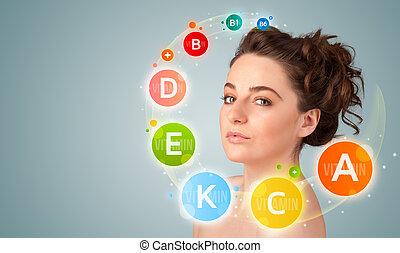 coloridos, ícones, vitamina, jovem, símbolos, menina bonita