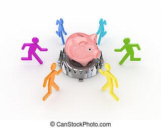 coloridos, 3d, pequeno, pessoas, ao redor, piggy, bank.