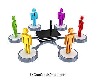 coloridos, 3d, pequeno, pessoas, ao redor, router.